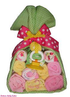Baby Girl Gift  Stork Bundle, Diaper Stork Bundle Gift Set. $24.95, via Etsy.