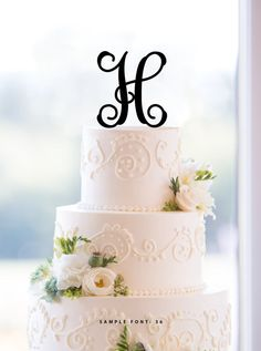Personalized Monogram Initial Wedding Cake Toppers Letter H Custom Unique Traditional