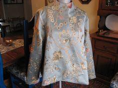 Exquisite tapestry vintage design soft blue jacket by DATChameleon on Etsy Victorian Coat, Swing Coats, Vintage Designs, Sari, Tapestry, Retro, Jackets, Blue, Fashion
