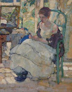"Richard Edward MILLER (1875-1943)  ""Rêverie"" HST 80x64.5 circa 1910/1914 - Thierry - Lannon & Associés - 02/05/2015"