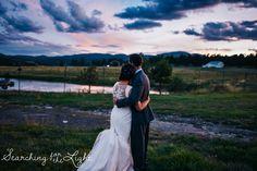 Evergreen Barn wedding sunset romantic wedding photos
