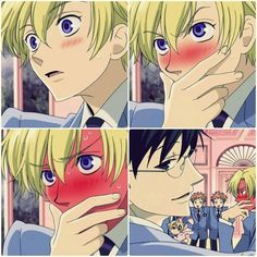 Ouran High School Host Club Tamaki blushing red -as-tomato-face Colégio Ouran Host Club, Ouran Highschool Host Club, High School Host Club, Anime Love, Anime Guys, Romance, Cosplay Steampunk, Danshi Koukousei No Nichijou, Pokemon