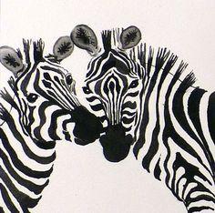 Zebra Art Watercolor Print Wild Animal African Animal by LaBerge, $20.00