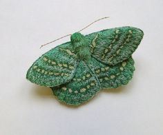 Embroidered moth brooch, 'Large Emerald', textile art, soft sculpture