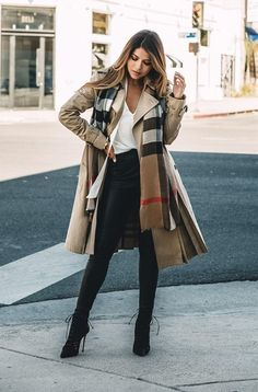 Burberry Trench Coat & Plaid Scarf