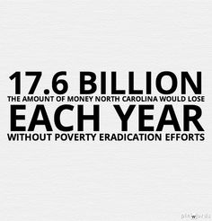 Without poverty eradication efforts, North Carolina would lose 17.6 billion dollars in productivity, crime and poor health.