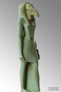 This blue-green faience statuette of the god Thoth walking as an Ibis-headed male figure is a remarkable example of the elegance and balance of proportions that makes Dynasty 18 one of the pinnacles of classical art. Egypt, New Kingdom, 1570 BC–1314 BC. Egypt, Upper Egypt, Karnak.