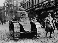 The first great tank was arguably France's Renault FT. Cheap, lightweight and maneuverable, it was designed to overwhelm enemy firing positions through sheer numbers. It's impact may have been mostly psychological, with the mere appearance of tanks giving demoralized German infantry an excuse to surrender, but it showed how important armor would be.