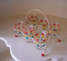 SALE  Retro Shot Glasses Set with Wire Holder  by EnglishPreserves, $25.00