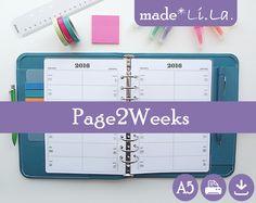 A5+2016+Page2Weeks+*Weekly*+Filofax+Printable+Plan+von+madeLiLa+-+Printable+Planner+Inserts+auf+DaWanda.com