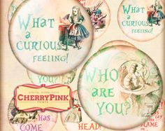 Alice in Wonderland PLACE CARDS digital party by CherryPinkPrints