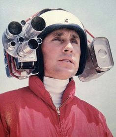 """atomic-flash:""""Grandpa's GoPro - Formula One World Champion Jackie Stewart wearing an early helmet camera to capture on-board footage, (image via imgr)"""" Jackie Stewart, Helmet Camera, Gopro Helmet, Camera Rig, Camera Angle, Leica Camera, Nikon Dslr, Camera Gear, Foto Picture"""