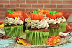 Pumpkin Spice Cupcakes are the perfect way to celebrate the fall season. They are full of pumpkin spice and topped with a sweet cinnamon buttercream frosting. Pumpkin Spice Cupcakes, Pumpkin Dessert, Pumpkin Pie Spice, Best Pumpkin, Pumpkin Pumpkin, Spice Cake Mix, Fall Treats, Fall Baking, Pumpkin Recipes