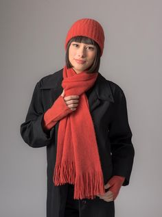 New season colour Coral is warm and soft and can be worn by lots of people. Merino wool scarf and watch cap beanie by Gorgeous Creatures.