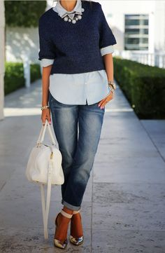 Gap tailored chambray shirt & 1096 sexy boyfriend worn selvage jeans | H&M sweater - old { similar options here & here } | BaubleBar ice pave disco necklace & warrior triad necklace | Emporio Armani heels - sold out { similar option on SALE here } | Saint Laurent duffel bag { in very pretty blue here } |  J Crew crystal floral garland bracelet  | Vita Fede jewelry: mini titan crystal bracelet, ultra eclipse crystal midi ring & ultra mini titan crystal ring