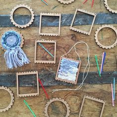 These absolutely adorable Tiny Looms are the perfect little gift for your crafty self or friend! The Tiny Looms are made from beautiful Cherry Weaving Textiles, Weaving Art, Tapestry Weaving, Loom Weaving, Bamboo Weaving, Basket Weaving, Yarn Crafts, Diy And Crafts, Weaving Projects