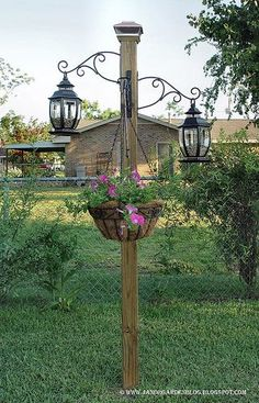 hanging basket posts | Bag of potting soil and a coconut liner to go in hanging basket that ...