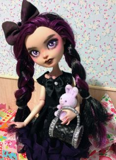 monster high custom doll ooak monster thesleepyforest keberneteka cute kawaii repaint raven em ever after high
