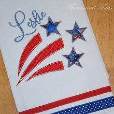 Patriotic Dish Towel with Personalization; Red, White and Blue Shooting Stars Applique by elainestiarasntutus on Etsy