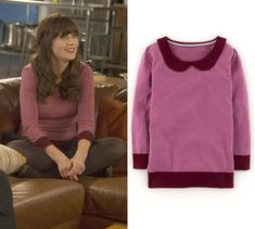 """Jess Day (Zooey Deschanel) wears a pink colorblock sweater with peter pan collar in New Girl episode """"Swuits"""""""