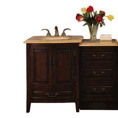 Silkroad Exclusive Dark Walnut Undermount Single Sink Bathroom Vanity with Travertine Top (Common: 47-in x 23-in; Actual: 46.5-in x 23-in)
