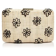 Kayu Daisy Clutch ($220) ❤ liked on Polyvore featuring bags, handbags, clutches, holiday purse, evening clutches, straw clutches, straw handbags and daisy handbag