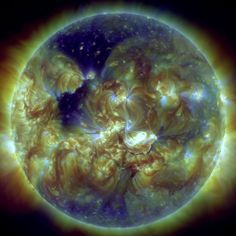 On Jan. 7, 2014, the sun unleashed a major solar flare and coronal mass ejection (the bright spot at center right), but the Earth's magnetic field channeled the worst of the solar storm away from the planet, scientists say. -  Credit: Möstl et al., Nature Communications
