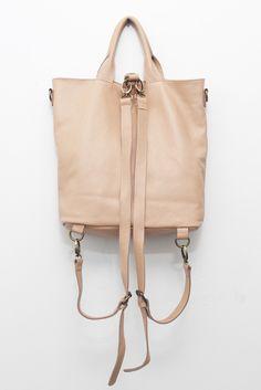 Textured Leather Multi Bag Beige