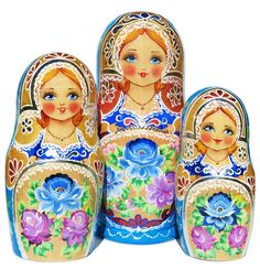 Stunning pink and blue flowers of spring decorate front and back of this beautiful floral nesting doll set. Many fine details and 3 dimensional elements such as jewelry add a very unique feminine touc