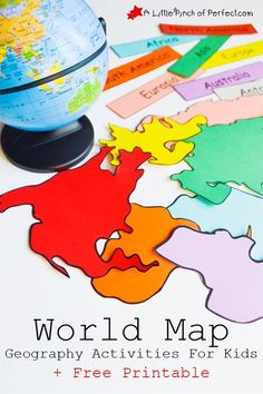 FREE Interactive World Map With Activities If you are studying world geography, then grab this FREE World map and activities for kids. This printable map is an interactive way to learn about the continents.<br> FREE Interactive World Map With Activities Geography For Kids, Geography Activities, Maps For Kids, Teaching Geography, Social Studies Activities, Teaching Social Studies, Preschool Activities, Geography Revision, Geography Classroom