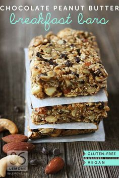 Gluten-Free, Vegan Chocolate Peanut Butter Breakfast Bars | 23 Healthy And Easy Breakfasts Your Kids Will Love