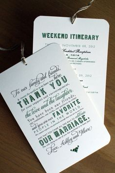 Welcome / Itinerary Hang Tag - Out of Town Guest / Destination Wedding Welcome Bags - 4.5 x 7 - Ivory Cardstock - Custom Colors Available. This one is also nice and reasonable as well.