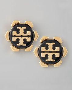 Tory Burch Walter Logo Stud Earrings, Black -- Buying myself these too!!!