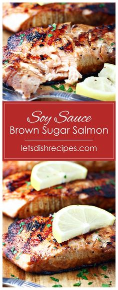 Soy Sauce and Brown Sugar Grilled Salmon: Salmon fillets are marinated in a sweet soy sauce mixture, then grilled to perfection in this easy, restaurant quality seafood dinner. - Soy Sauce and Brown Sugar Grilled Salmon Delicious Salmon Recipes, Grilled Salmon Recipes, Sauce For Grilled Salmon, Grilled Salmon Marinade, Healthy Seafood Recipes, Grilled Shrimp Skewers, Easy Salmon Recipes, Roasted Salmon, Healthy Recipes