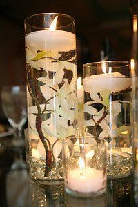 Image result for floating candles with flowers center piece