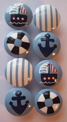 Hand Painted Knobs- Love this for a Nautical baby room! Nautical Bedroom, Nautical Bathrooms, Nautical Baby, Nautical Theme, Nautical Curtains, Vintage Nautical, Home Design Diy, Design Ideas, Baby Boy Rooms