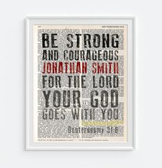 PERSONALIZED name ART PRINT Christian Bible verse encouragement Deuteronomy 31:6  by HappyPlaceInk