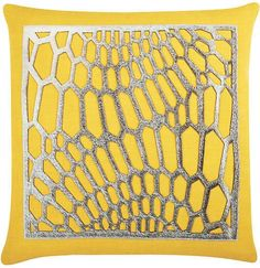 The Piper Collection Emerson 22x22 Cotton Pillow - Yellow/Gray