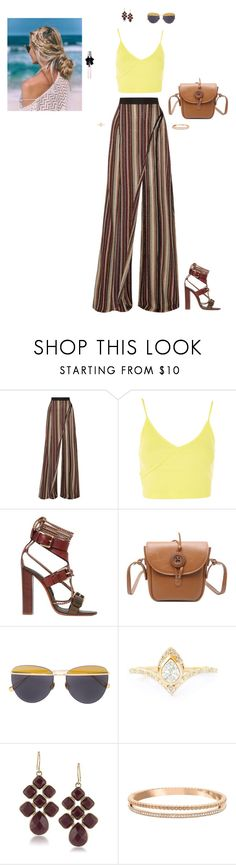 """""""Untitled #3424"""" by gracewirth101 ❤ liked on Polyvore featuring Balmain, Topshop, Etro, Sunday Somewhere, 1st & Gorgeous by Carolee, Swarovski and Yves Saint Laurent"""