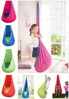 Children Toy Hanging Seat Hammock Swing Chair Reading Nook Tent with Cushion new