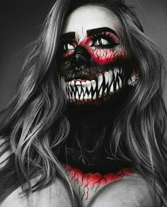 Creepiest Halloween makeup ideas that you can easily pull off Gruseligste Halloween-Make-up-Ideen, die Sie mühelos abziehen können Creepiest Halloween makeup ideas you can easily pull off Dark face with big mouth skeleton. Creepy Halloween Makeup, Amazing Halloween Makeup, Creepy Makeup, Halloween Makeup Looks, Sfx Makeup, Makeup Art, Halloween Costumes Women Scary, Halloween Fashion, Halloween Halloween