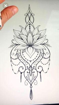 Mandala design tattoo - Would love this as a temp on my ster.- Mandala design tattoo – Would love this as a temp on my sternum Mandala design tattoo – Would love this as a temp on my sternum – Today Pin - Lotusblume Tattoo, Hand Tattoo, Tattoo Drawings, Body Art Tattoos, New Tattoos, Tattoo Thigh, Tatoos, Tattoo Neck, Sketch Tattoo