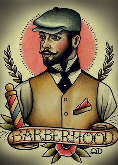 New arrivaVintage Hairdresser Tattoos about Barberhood Patterned Posters Kraft paper Wall Sticker Barber shop Home Decor 42X30cm