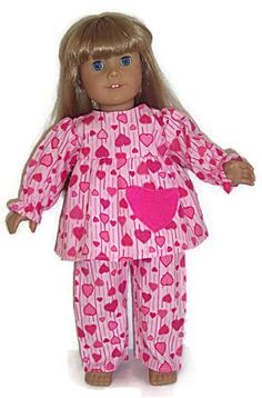 11d0a42f9a Flannel Heart Pajamas Print Sleepwear made for 18