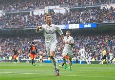 Cristiano Ronaldo of Real Madrid celebrares after scoring Real's opeing goal during the La Liga match between Real Madrid CF and Valencia CF at Estadio Santiago Bernabeu on April 29, 2017 in Madrid, Spain.
