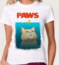 Two Stupid Cats ~ Products ~ Paws White T-Shirt   Don't be a duck in the water! Get ready for summer and jump into one of these quality cotton Paws T-shirt. Your cat is a shark, that`s right deal with it!