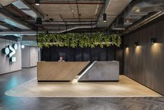 Like the desk design and the colours not sure it works with the amount of white we have and need to keep the office light - Maybe bit dark for us but very cool reception desk? Office Reception Design, Office Space Design, Modern Office Design, Office Interior Design, Office Interiors, Reception Counter Design, Gym Interior, Lobby Interior, Lobby Reception