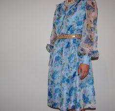 FAB Vintage 1950s Shirtwaist Day Dress Blue Floral Rose Mad Men Retro by GazelleStar, $85.00
