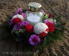 dekoracja znicza na grób z okazji wszystkich świętych
