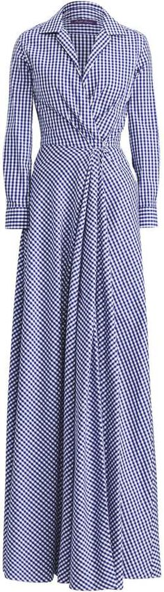 This Ralph Lauren 'Rivera' gingham evening dress features a spread collar, ruching gathers at the left waist with a buckled self-belt and a matching short. Ralph Lauren Collection, Retro, Gingham, Evening Dresses, Wrap Dress, Gowns, Vintage, Cotton, Clothes
